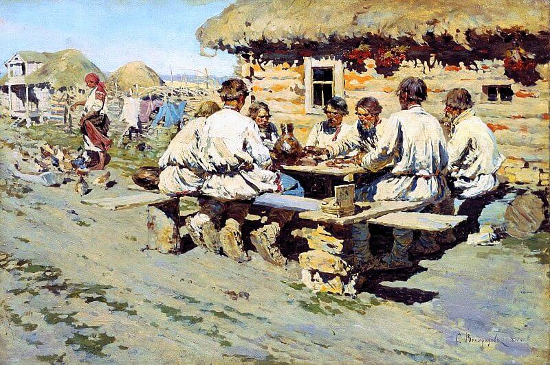 Картина обед работников